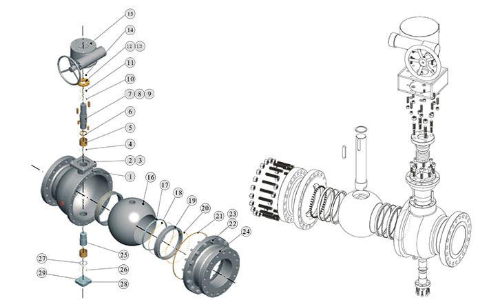 固定球阀典型机构及零部件